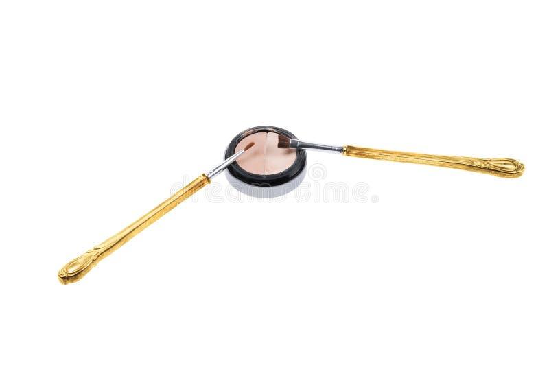 Retro spazzole e trucco fotografie stock libere da diritti