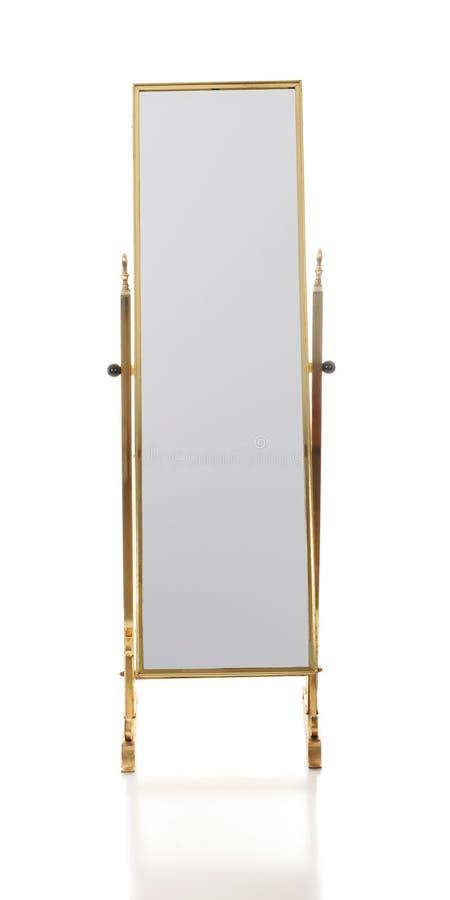 Retro specchio d'ottone del pavimento fotografia stock libera da diritti