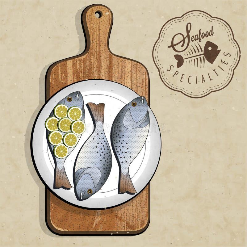 Retro specialità d'annata del pesce di stile con il tagliere. royalty illustrazione gratis