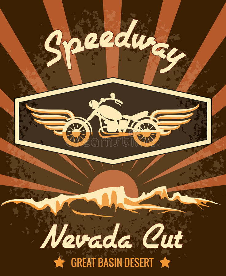 Retro Speedwaybaan Nevada Cut Graphic Design royalty-vrije illustratie