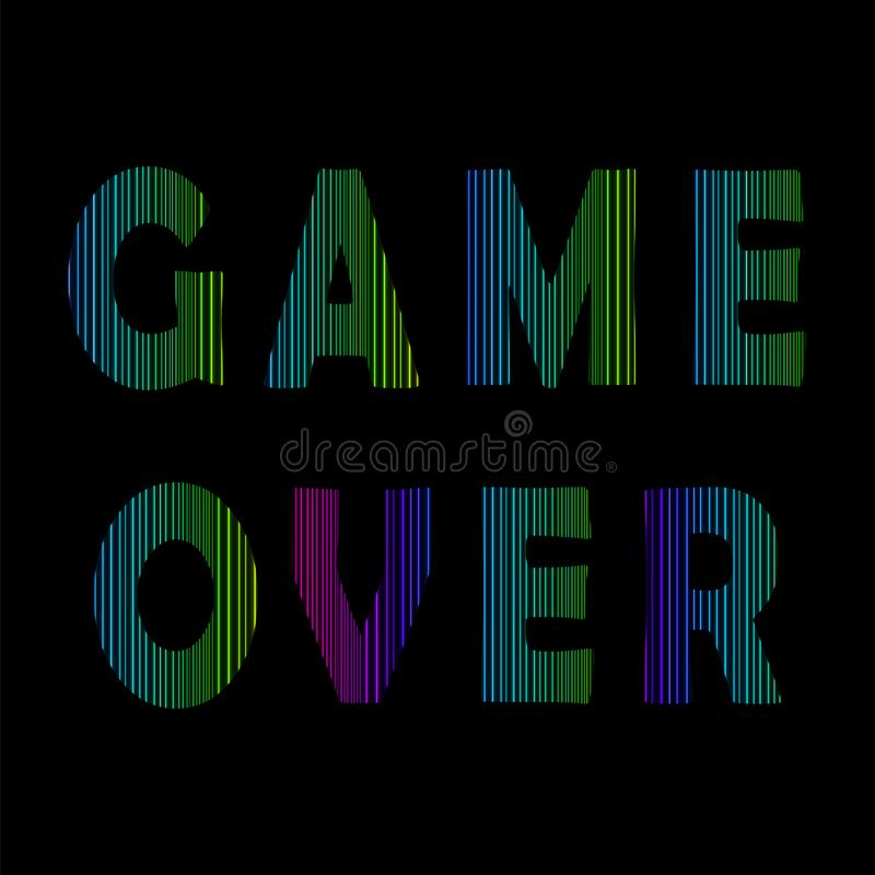 Retro Spel over Neonteken Gokkenconcept Het videospelletjescherm stock illustratie