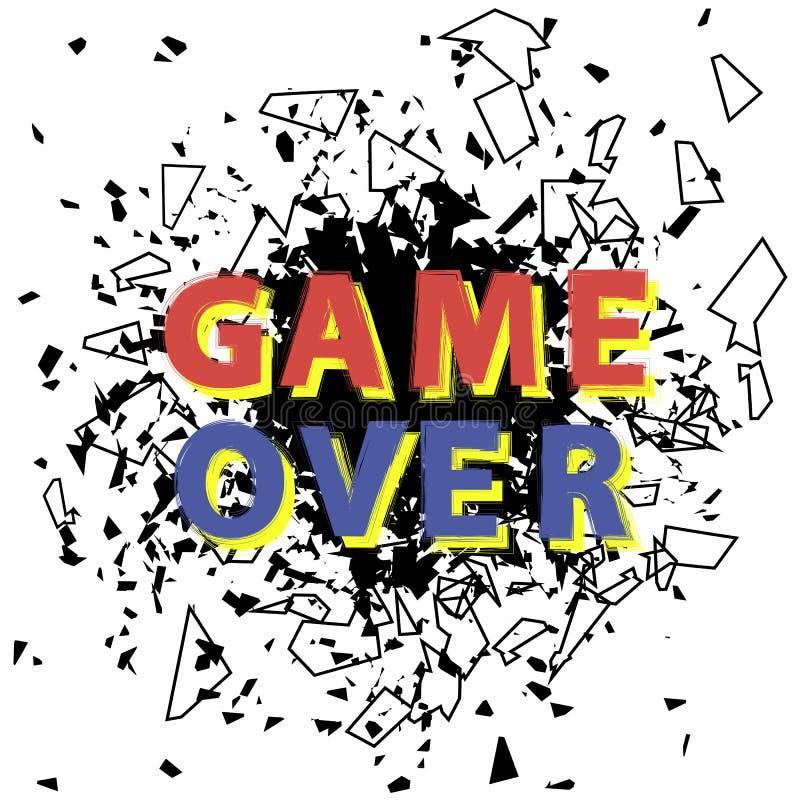 Retro Spel over Teken met Explosie Gokkenconcept Het videospelletjescherm stock illustratie