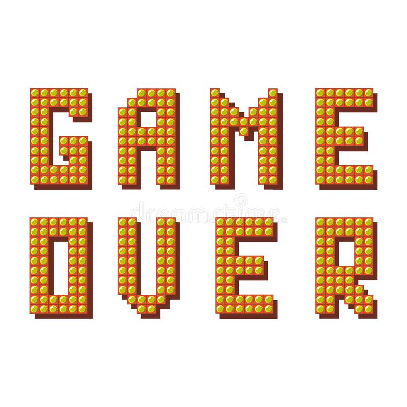 Retro- Spiel ?ber Zeichen auf wei?em Hintergrund Spielkonzept Videospiel-Schirm stock abbildung