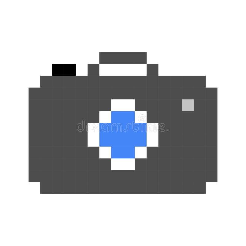 Retro- Spielart der Fotokamerapixelkunstkarikatur stock abbildung