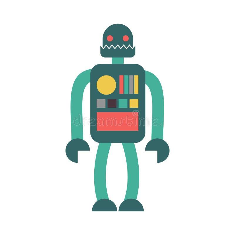 Retro- Spielzeug des Roboters lokalisiert Weinlese Cyborg auf weißem Hintergrund vektor abbildung
