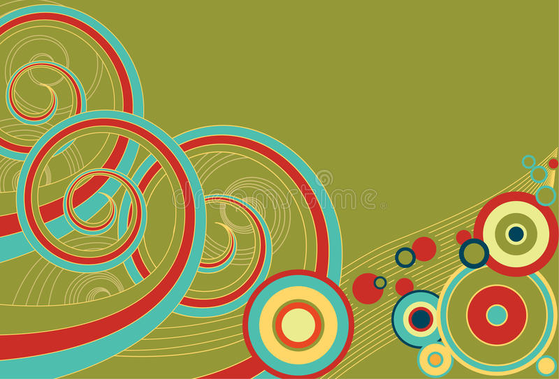 Retro Spirals and Circles. Funky retro background of multi-colored spirals and colors royalty free illustration