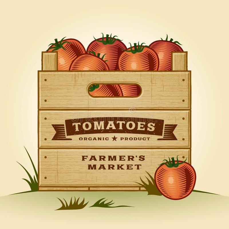 Retro spjällåda av tomater stock illustrationer