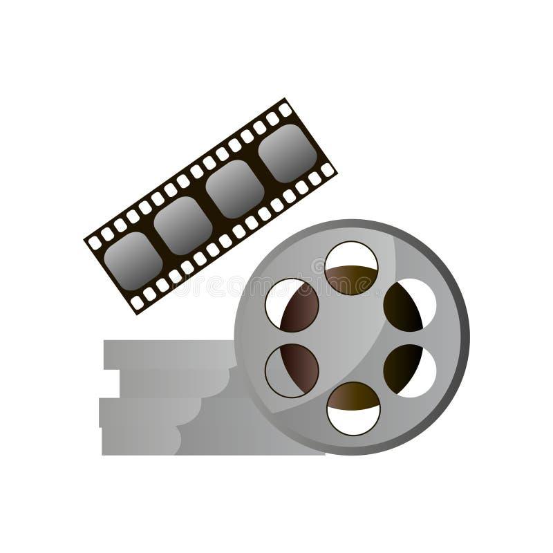 Retro spoel van de metaalfilm, moderne uitstekende bioskoopvisie stock illustratie