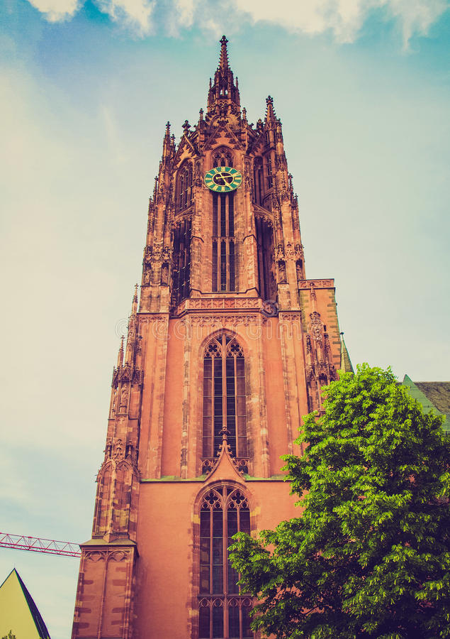 Retro spojrzenia Frankfurt katedra obrazy royalty free