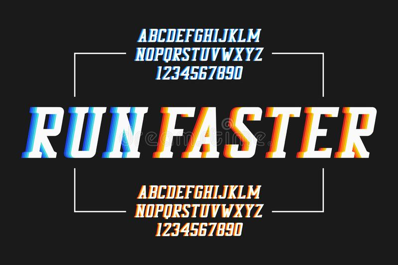 Retro sport font with colorful overlap effect. Athletic serif alphabet, college typeface. Vector. vector illustration