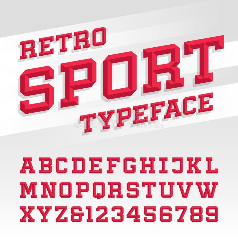 Retro sport style typeface stock illustration