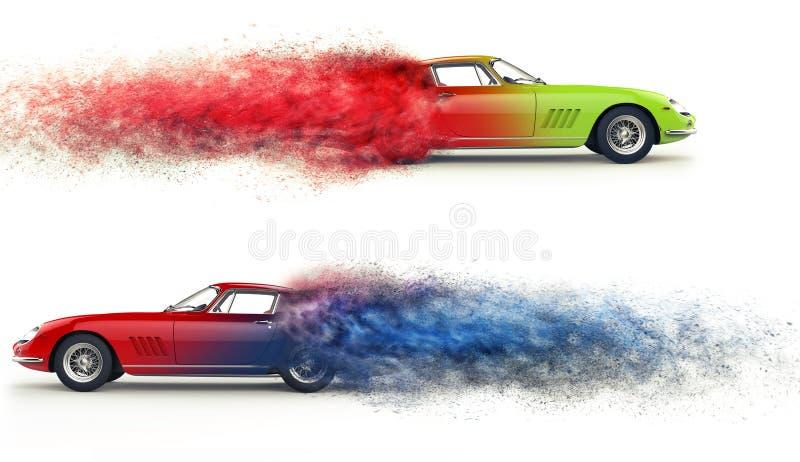 Retro sports cars - color mix - particle flow. Disintegration effect stock illustration