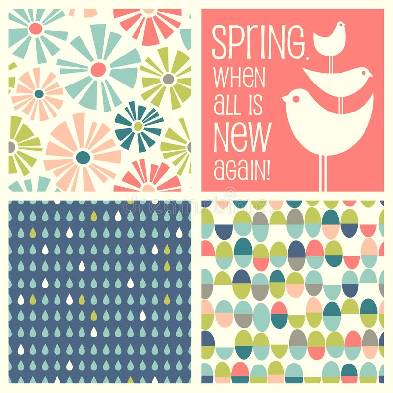 Retro Spring designs and seamless patterns royalty free illustration