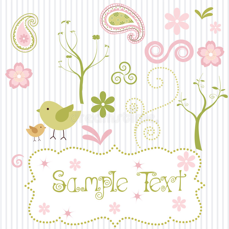 Retro Spring elements. A set of retro styled spring elements