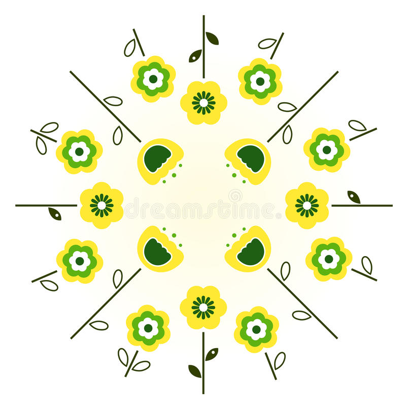 Retro spring flowers in circle royalty free illustration