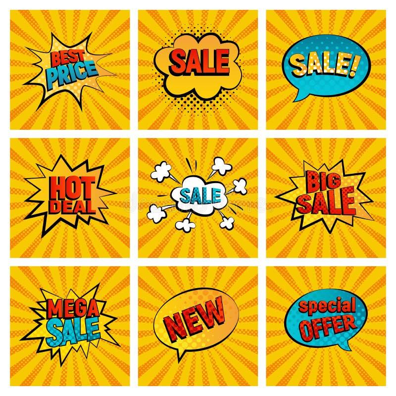 Retro sprzedaży ikony wektoru karty kolekcja ilustracja wektor