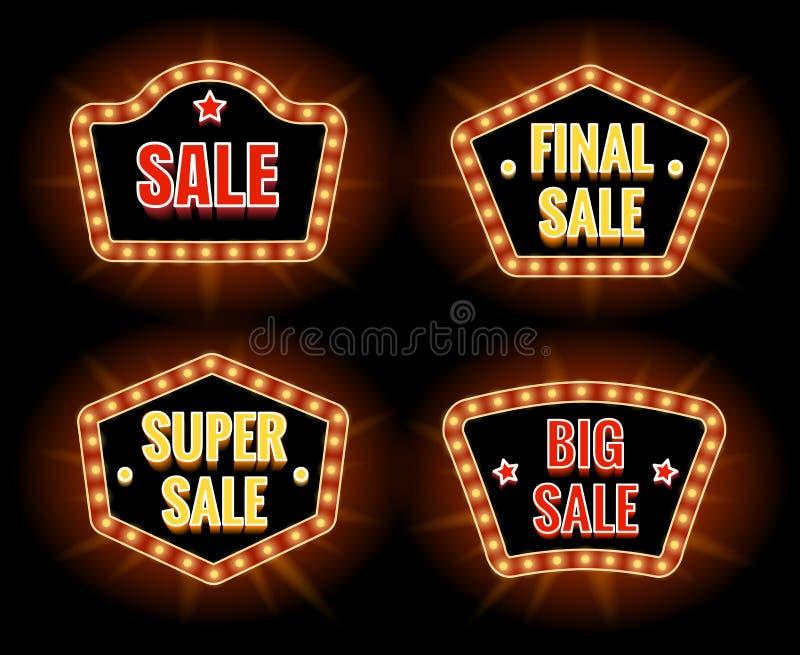 Retro sprzedaży lightbulb znaki ilustracja wektor
