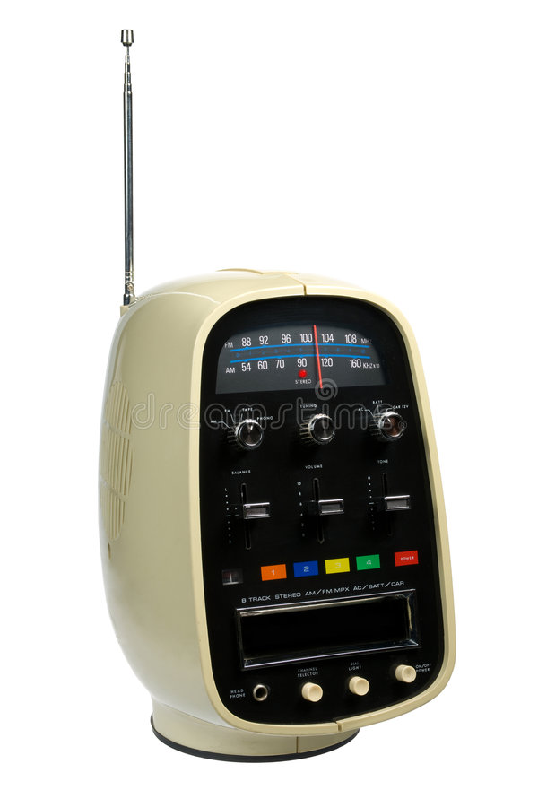 Retro- Spur-Kassettenrekorder u. Funk des Portable-8 lizenzfreies stockfoto