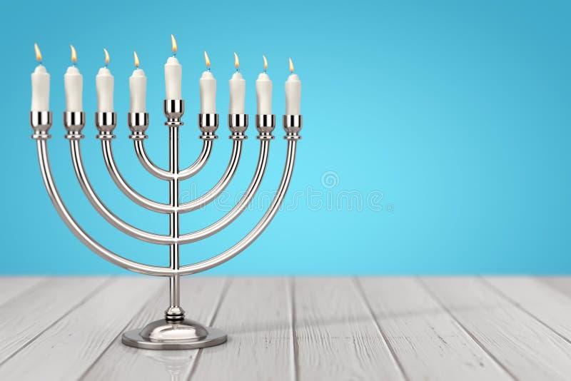 Retro Srebny Hanukkah Menorah z Płonącymi świeczkami świadczenia 3 d ilustracji