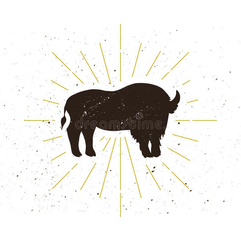 Retro stående bisonkonturlogo stock illustrationer