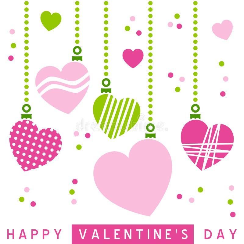 retro st-valentin för hjärtor stock illustrationer