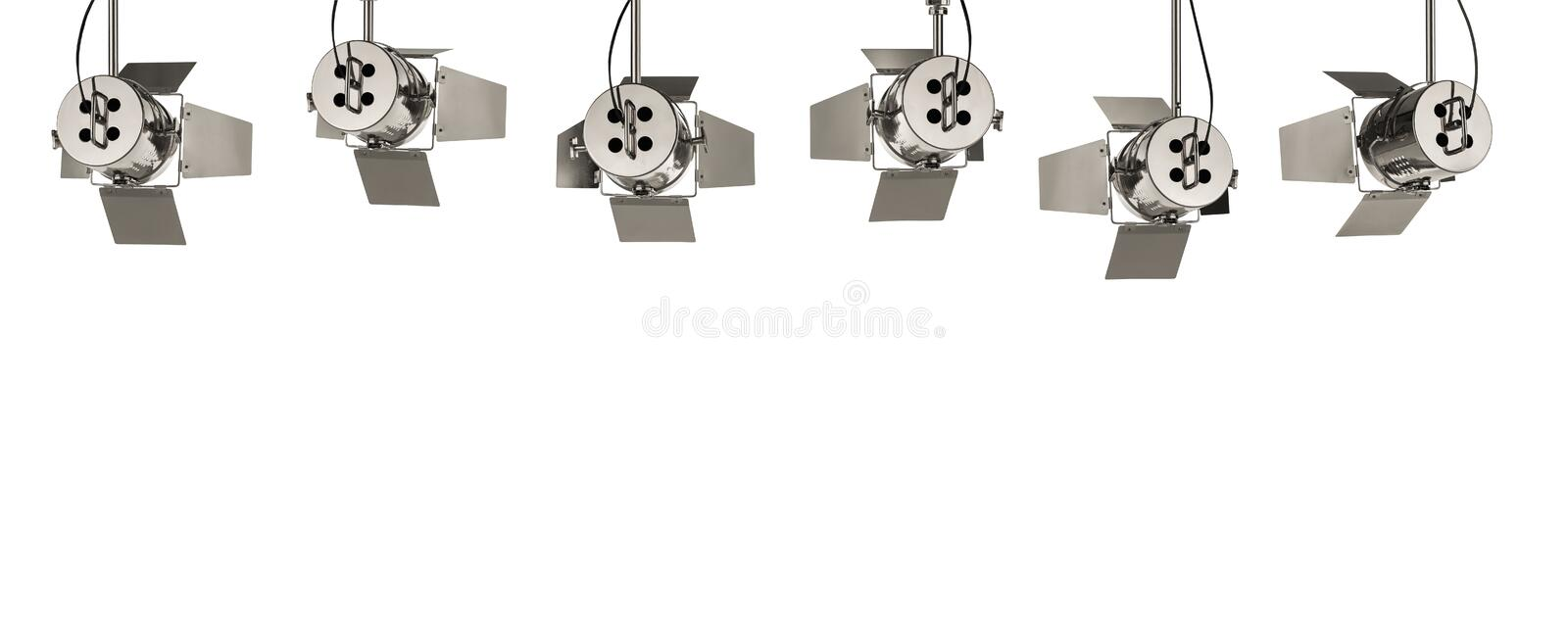 Retro stage lights isolated on white background royalty free stock images