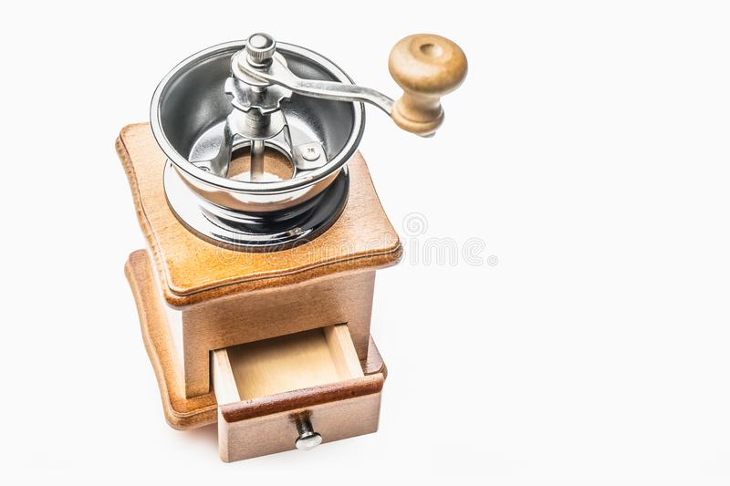 Retro Stainless Manual Coffee Bean Grinder Wooden Nut Mill Hand royalty free stock photography