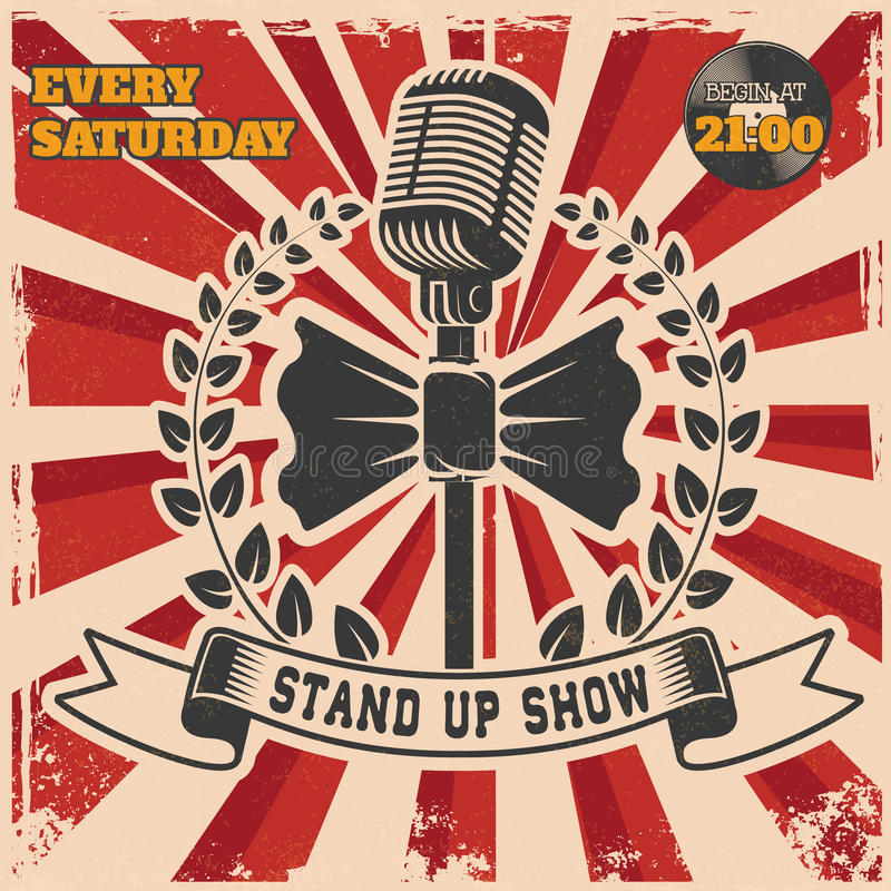 Retro Stand Up Comedy Show Vintage Poster Template Stock Vector