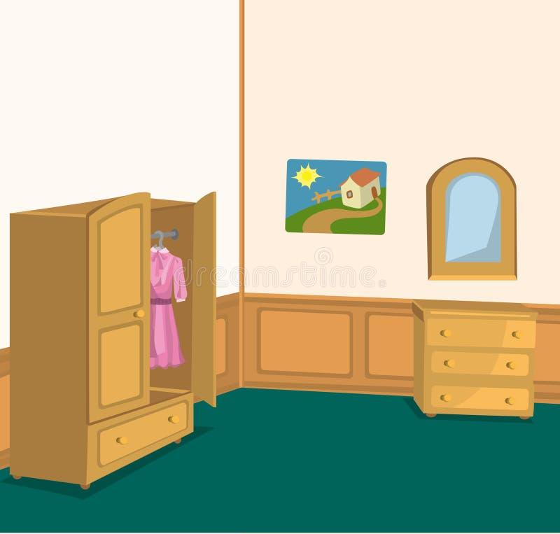 Retro stanza con il guardaroba royalty illustrazione gratis