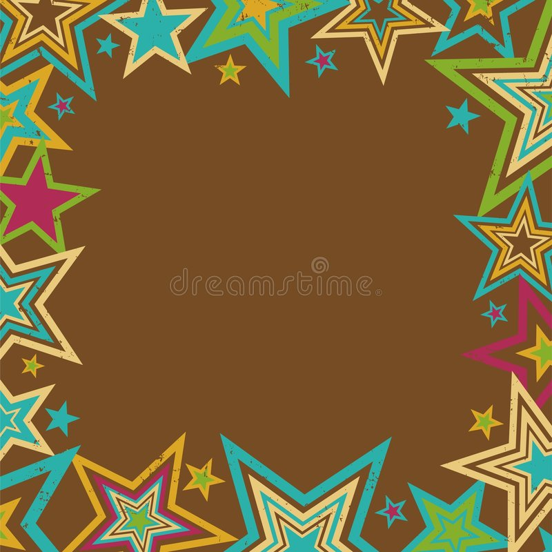 Retro Stars Border. In bold autumn colors with space for text royalty free illustration