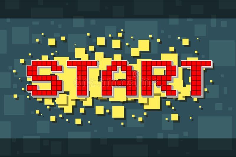 Retro startknapp för rött PIXEL för videospel vektor illustrationer