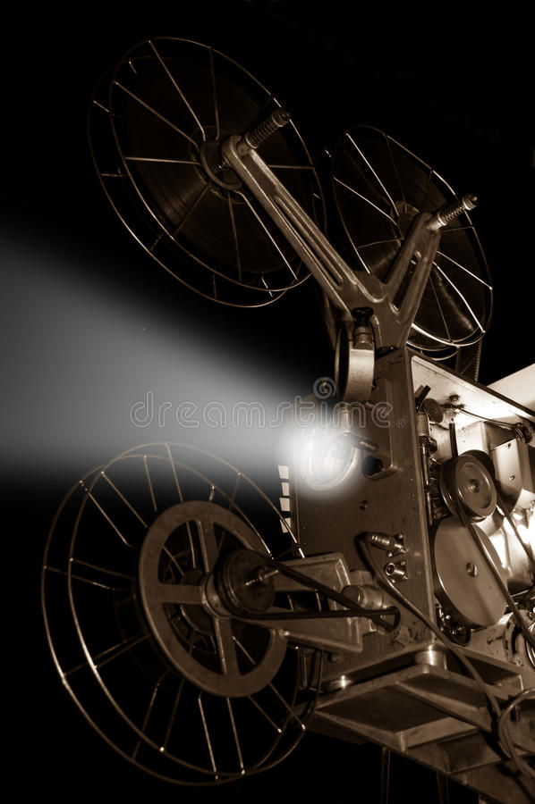 Retro stary kinowy projektor, sepiowy kolor obrazy stock