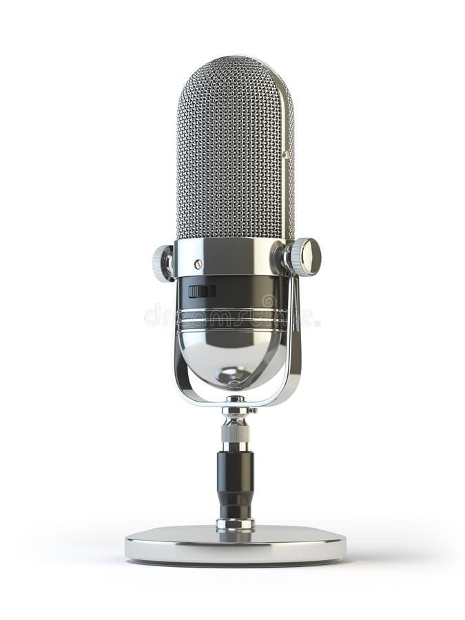 Retro stary mikrofon odizolowywający na bielu rocznik, ilustracja wektor