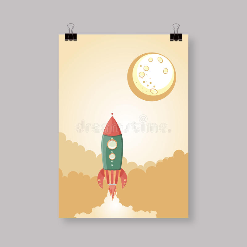 Retro statku kosmicznego wektorowy plakatowy szablon ilustracji