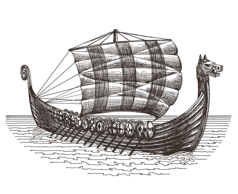 Retro statku loga projekta wektorowy szablon E ilustracji