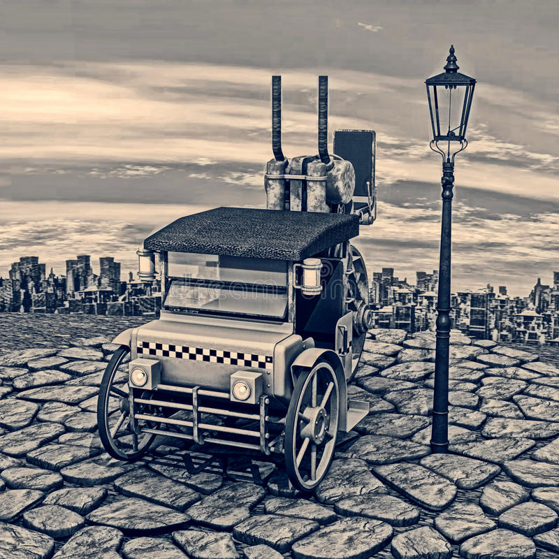 Retro Steam Cab-Taxi. 3D digital render of a steam cab-taxi and a lantern on blue sky and big city background, blue coloration vector illustration
