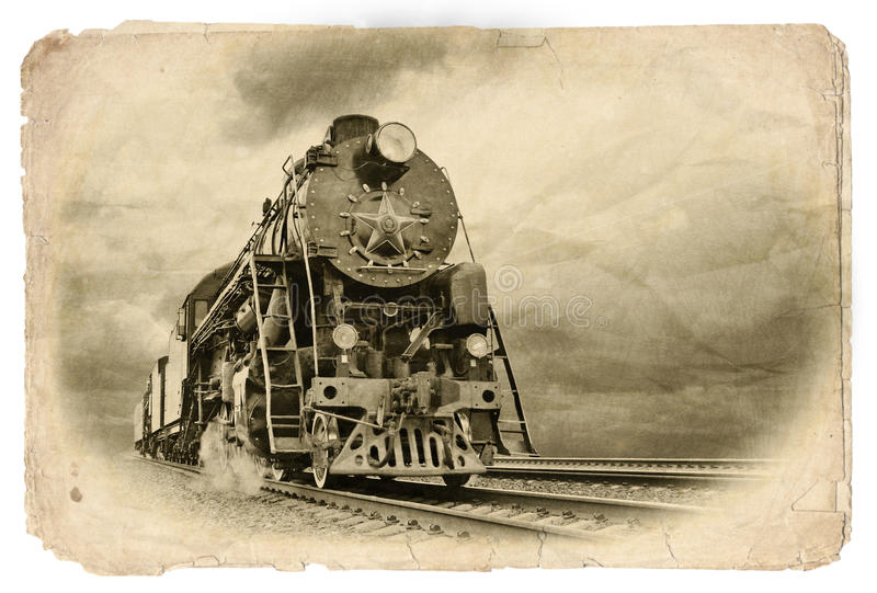 Retro steam train in motion. Vintage Steam engine train in motion Old photo royalty free stock image