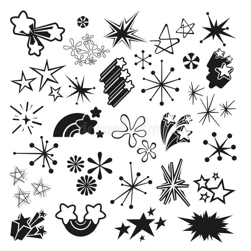 Retro stelle d'annata e Starbursts illustrazione di stock