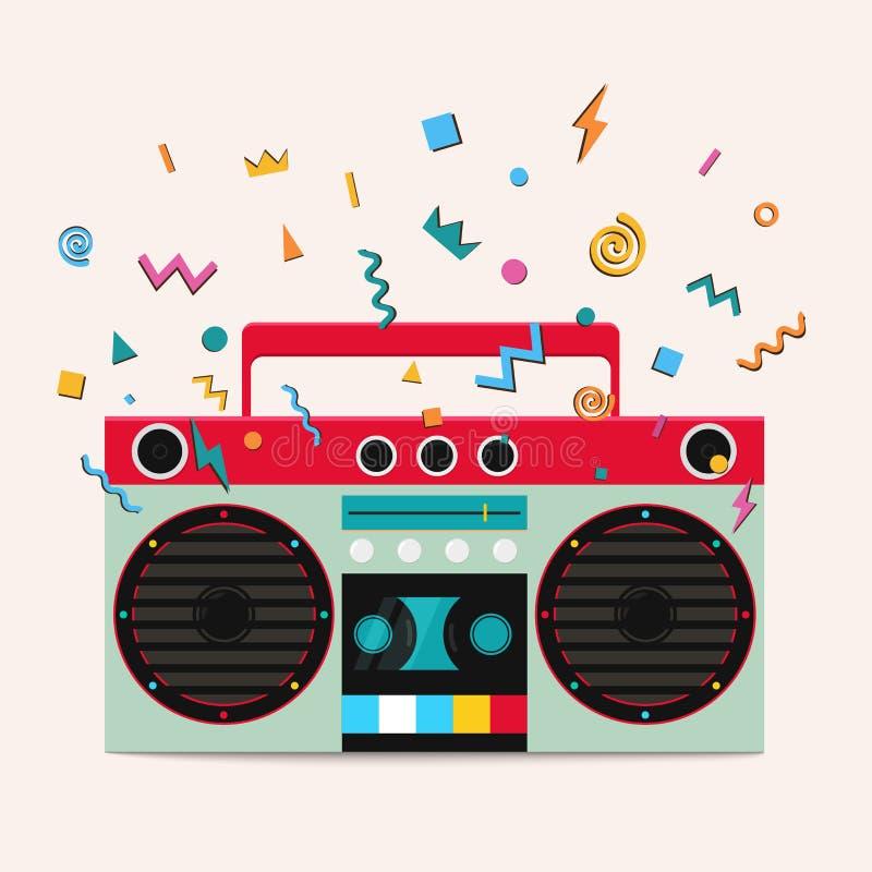 Retro stereo cassette player. royalty free illustration