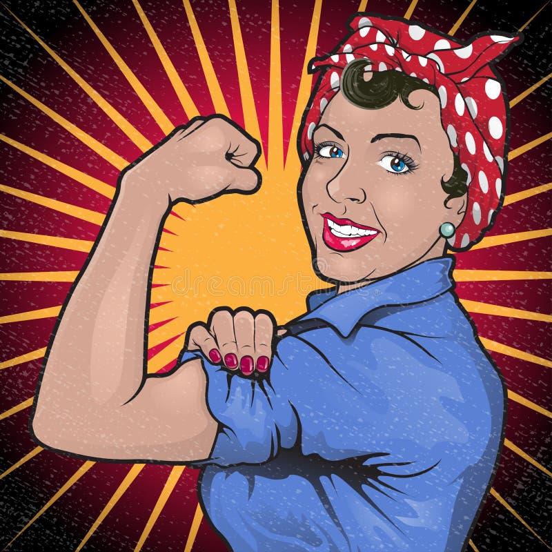 Retro Sterke Krachtige Teken van de Vrouwenrevolutie royalty-vrije illustratie