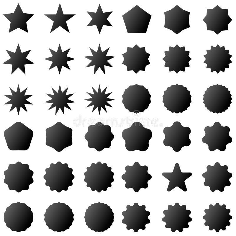 Retro- Sternformen der Sammlung Rotscheine Weinlesepoststempel und -poststempel vektor abbildung
