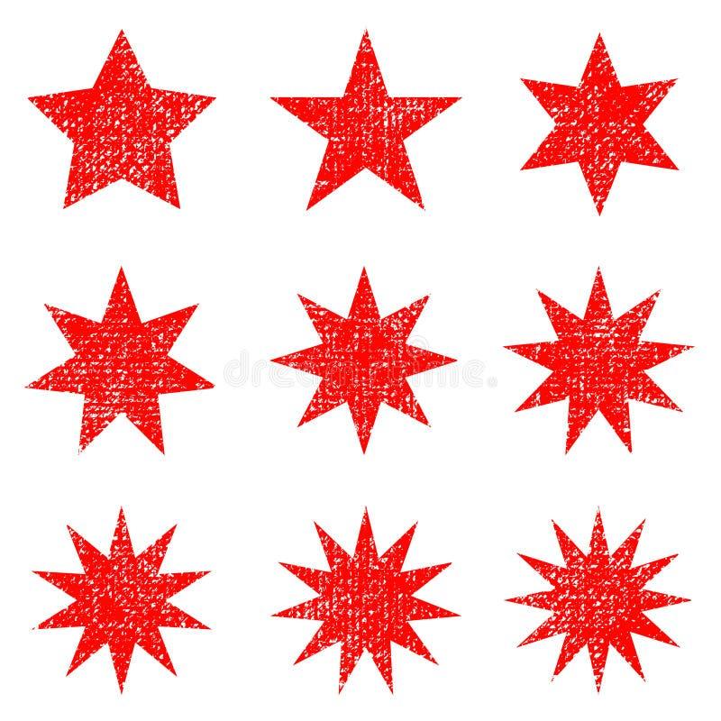 Retro- Sternformen der Sammlung Rotscheine Weinlesepoststempel und -poststempel lizenzfreie abbildung