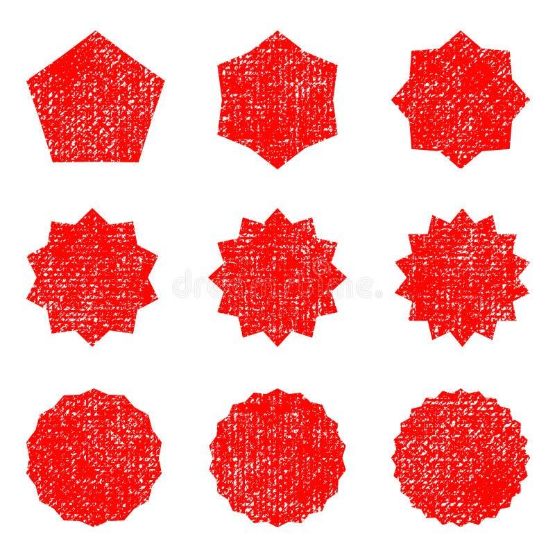 Retro- Sternformen der Sammlung Rotscheine Weinlesepoststempel und -poststempel stock abbildung