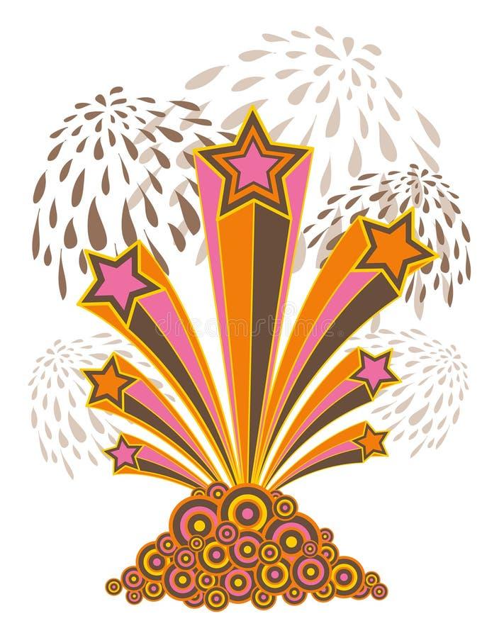 Retro sterren, strepen, vuurwerk royalty-vrije illustratie