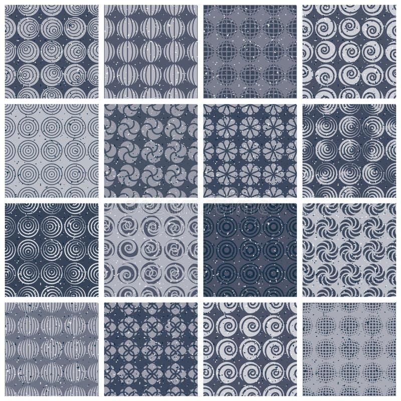 Retro stijl betegelt naadloze patronen plaatste 2 vector illustratie