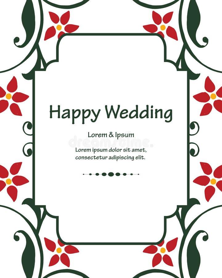 Retro stijl bloemenkader, uitstekende decoratie, het gelukkige huwelijk van de malplaatjekaart Vector vector illustratie