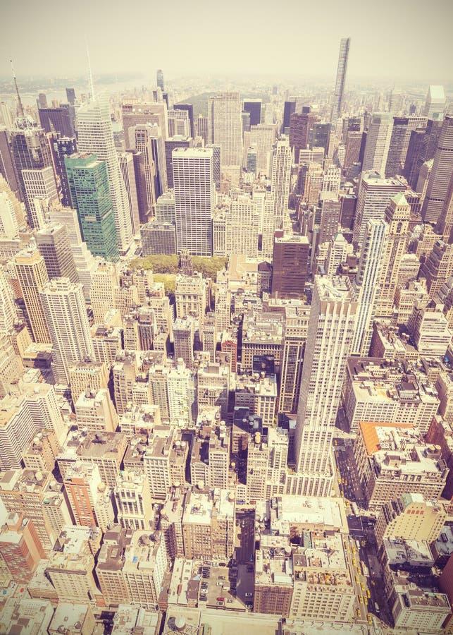 Retro stijl luchtbeeld van Manhattan, New York; De V.S. stock foto