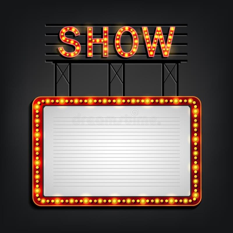 Retro stijl van het Showtimeuithangbord met licht kader vector illustratie