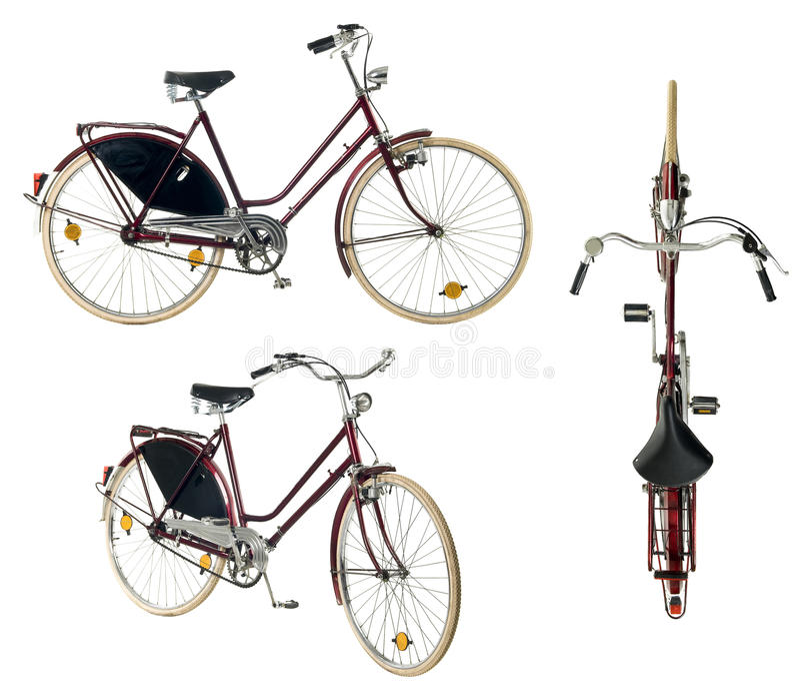 Retro stijl vrouwelijke fiets die op een witte achtergrond wordt geïsoleerd royalty-vrije stock afbeelding
