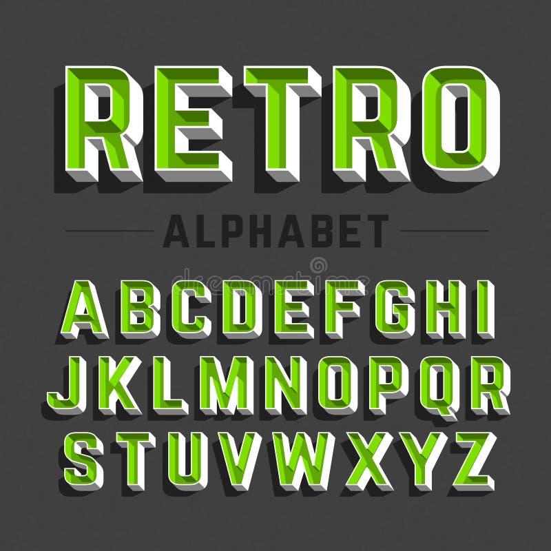 Retro stijlalfabet vector illustratie